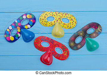 Four colorful masks for kids Birthday party.