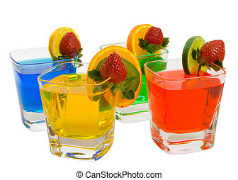 Four colorful mixed drinks isolated over white background