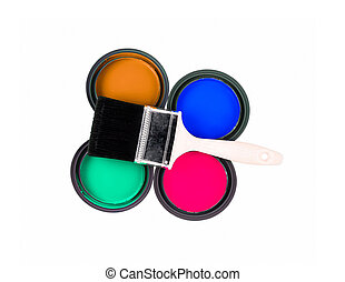 four colorful paint cans with paintbrush
