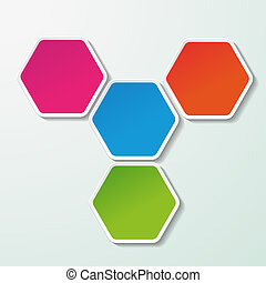 Four Colorful Paper Hexagons - Four colorful paper hexagon...