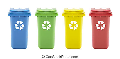 Four colorful recycle bins isolated on white background