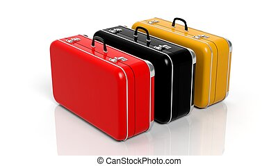 Four colorful travel suitcases in a row isolated on white