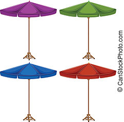 Four colorful umbrellas