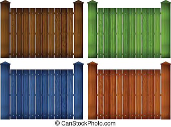 Four colorful wooden fences