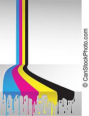 four colors cmyk flow