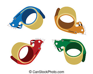 Four Colors of Adhesive Tape Dispenser on White Background -...