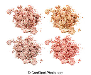 Four colors of eye shadow isolated on white background