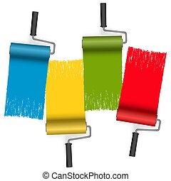 four colors paint roller concept