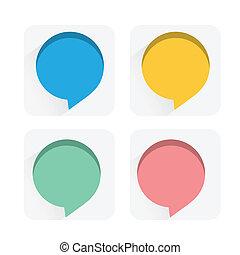 Speech bubbles flat icons