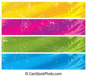 Four colour halftone vector banners