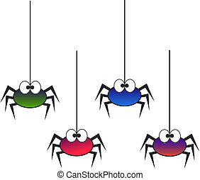 four colourful spiders