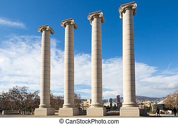 Four ionic columns in the city center of Barcelona near montjuic (les quatre columnes in spanish)