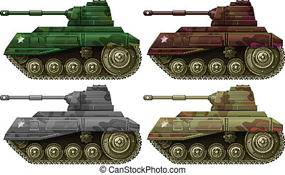 Illustration of the four combat tanks on a white background