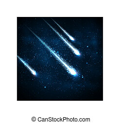 Four comets - Comet in the starry sky. Eps 10