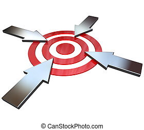 Four Competing Arrows Point at Bulls-Eye Target - Four...