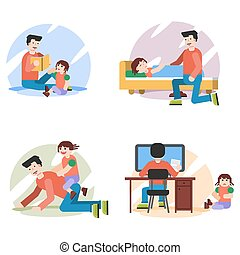 Four concepts of father with daughter at home
