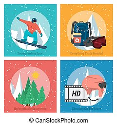 Four concepts snowboarding sports