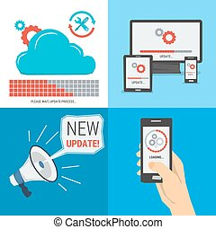 Four square vector concept easy update. Smartphone in hand, cloud storage, megaphone calling new update. Flat style. Web infographics