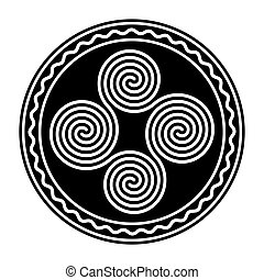 Four connected Celtic double spirals, within a circle frame