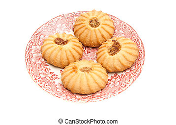 cookies with jam on a plate