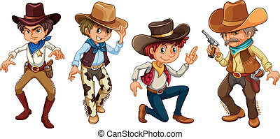 Four cowboys - Illustration of the four cowboys on a white ...