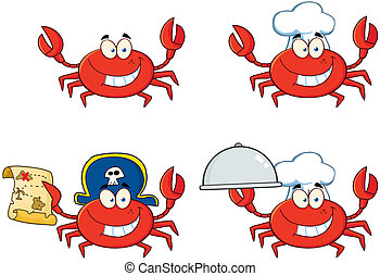 Four Crab Character.Collection - Happy Crab Chef Cartoon...