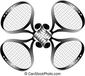 four crossed tennis rackets