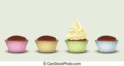 Four cupcakes in multi-colored pieces of paper