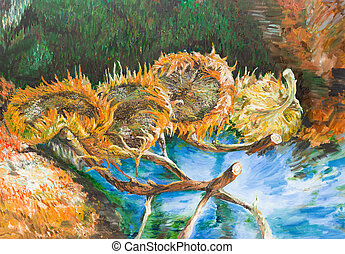 oil painting illustrating a replica of a famous painting made by Vincent van Gogh