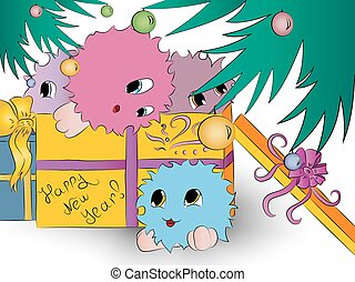four cute colorful monsters gift box christmas tree