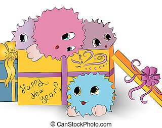 four cute colorful monsters in gift box white background