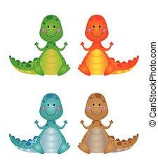 Four cute little dragons