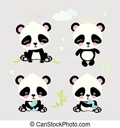 Four cute panda, funny cartoon vector
