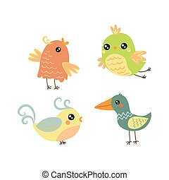 Four Cute Small Birds Set Of Isolated Childish Style Simple...