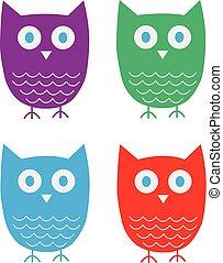 Four cute vector owls