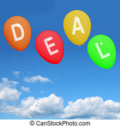 Four Deal Balloons Representing Discounts, Sales, Bargains, and Hot Deals