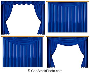 Four design of blue curtains