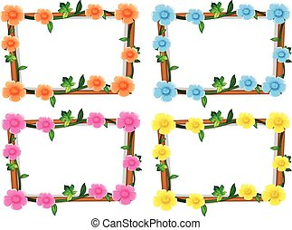 Four design of frames with flowers