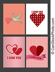 Four Designs for Valentines Day Greeting Cards and Posters