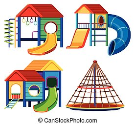 Four designs of playhouse with slide and climbing pole ...