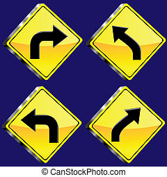 Glossy diamond road signs. 12 glossy driving signs. the ...
