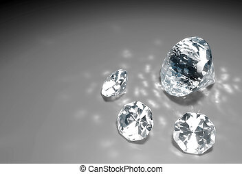 four diamonds on the floor - a closeup of a group of three...