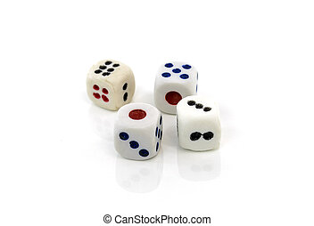Four dice on white background