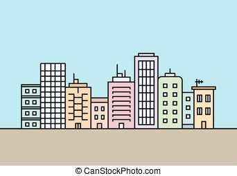 Four different cities and towns - City skyline. Town...