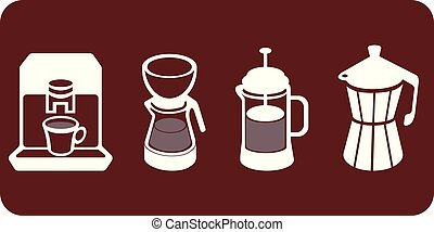 Four different coffee makers