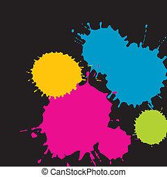 splatter grunge shapes - Four different color splatter ...