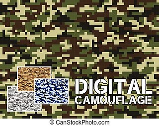 Four different colors digital camouflage military pattern