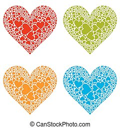 Four Different Coloured Heart Shapes - Set