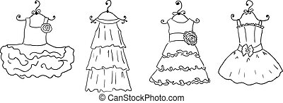 four different dresses on hangers