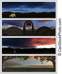 four different fantasy landscapes for banner, background or illustration. with clouds, mountains and sunset